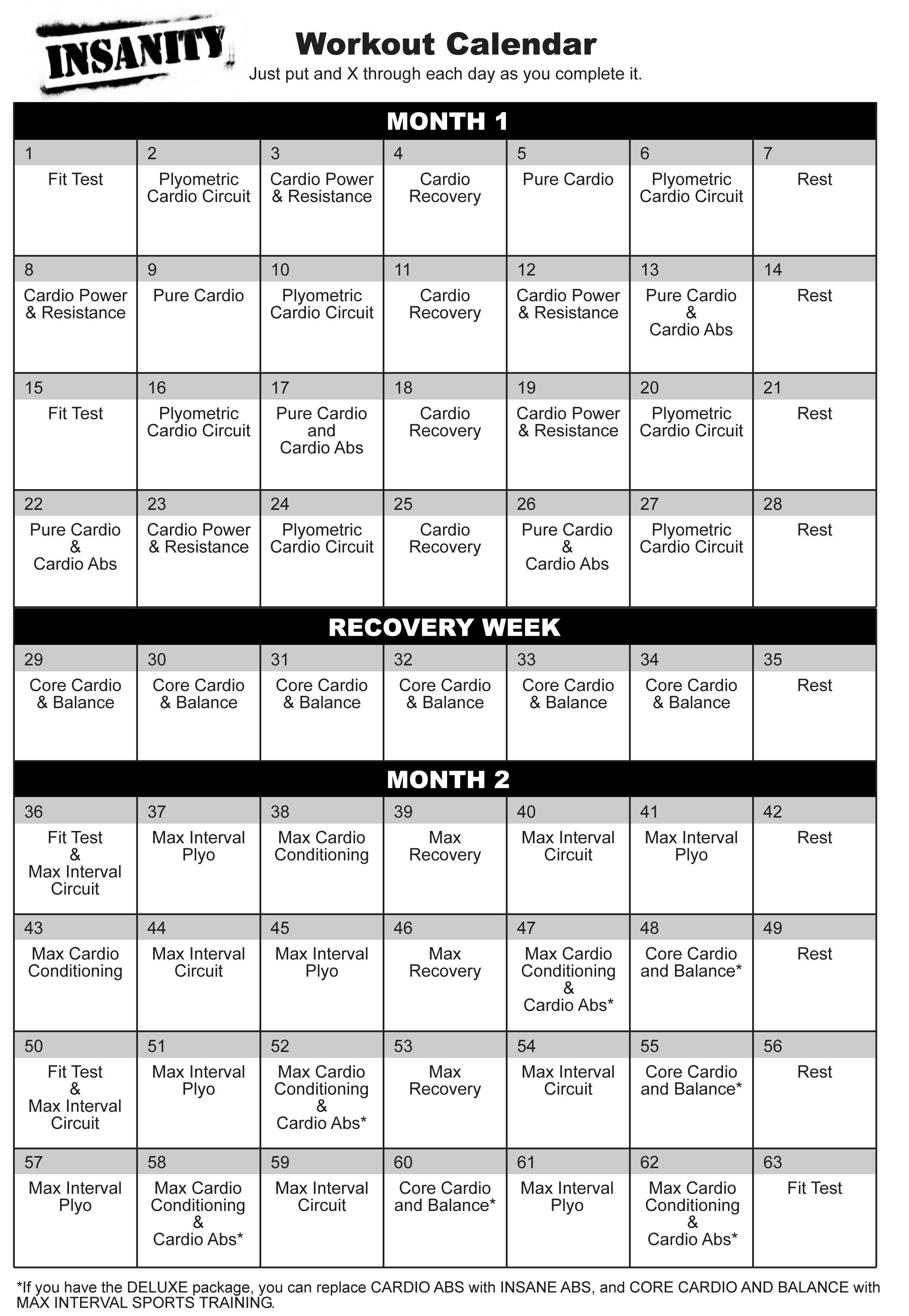 Luscious image inside insanity workout schedule printable